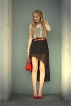 asymmetrical no name skirt - red heels Primark shoes - snake print Pimkie shirt