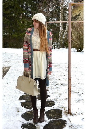 Only sweater - brown H&M boots - lace c&a dress - vintage bag