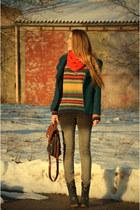 petrol Primark coat - ombre New Yorker jeans - vintage bag
