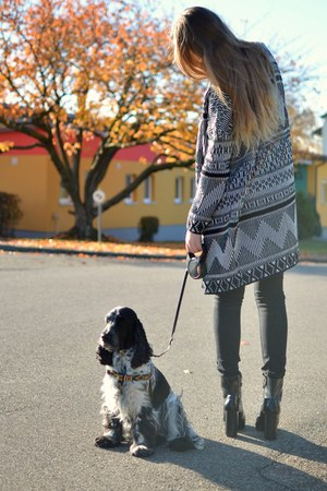 black and white Urban Outfitters cardigan - black Zara boots