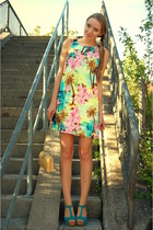floral print Primark dress - vintage bag