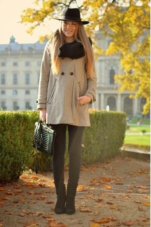 H&M coat - black H&M hat - vintage bag