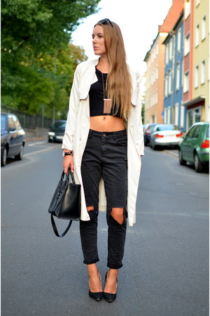 fashion5 jeans - trench H&M coat - cropped shirt fashion5 shirt - black Zara bag