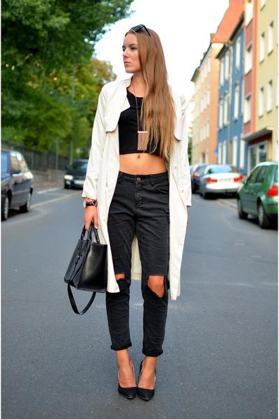 trench H&M coat - fashion5 jeans - cropped shirt fashion5 shirt - black Zara bag