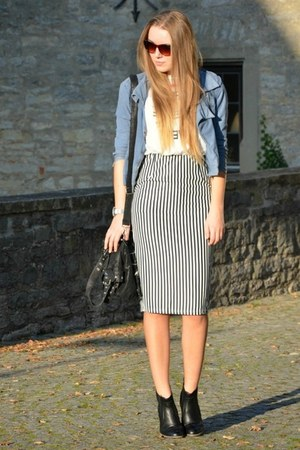 striped Yesfor dress - chelsea CCC boots - denim H&M jacket