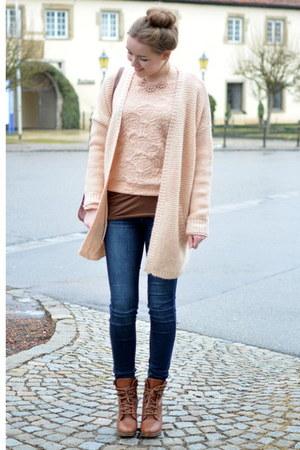 pink Opus sweater - brown Deichmann boots - vintage bag - pink Opus cardigan