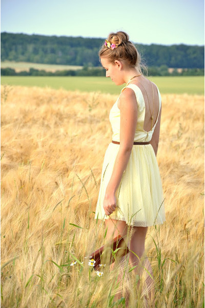 yellow Mohito dress - brown vintage bag - earth Urban Outfitters watch