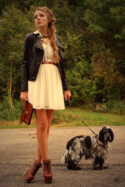 studded no name jacket - litas Jeffrey Campbell shoes - lace c&a dress
