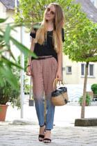 basket vintage bag - ombre H&M pants