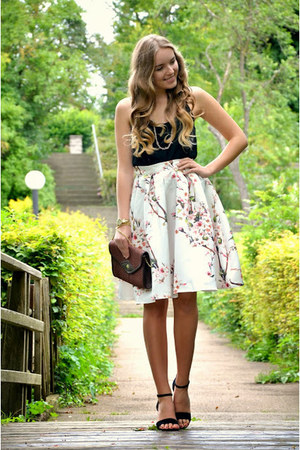 floral Sheinsidecom skirt - Pimkie shirt - vintage bag