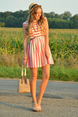 striped Primark dress - Deichmann wedges