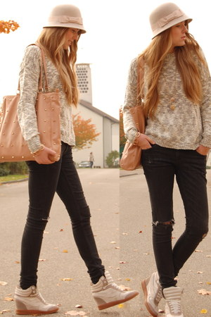 c&a hat - TK Maxx sweater - studded Primark bag - sneaker wedges bronx wedges