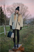 cozy H&M coat - glitter Deichmann boots - black H&M hat - H&M bag