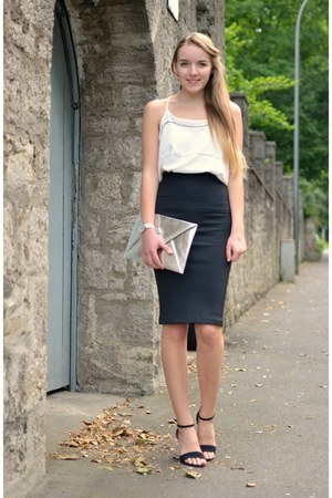 silver H&M bag - midi black H&M skirt