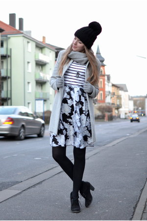 grey Zara coat - striped c&a shirt - floral yesforco skirt