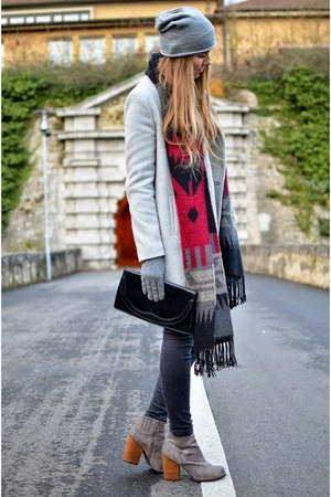 grey Jeffrey Campbell shoes - maroon grey Zara coat - c&a scarf