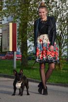 floral Primark skirt - lace Zara shirt - petrol vintage bag