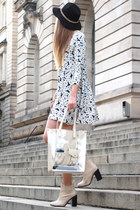 floral TK Maxx dress - Pimkie boots - black c&a hat - lcredi TK Maxx bag