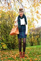 vintage bag - Deichmann boots - tartan green vintage skirt
