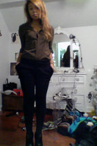 zoe sam edelman boots - delias tights - Forever 21 shorts - papaya blouse