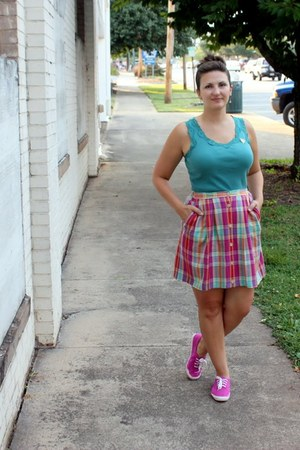 hot pink thrifted skirt - teal Jcpenny top - hot pink Keds DIY sneakers