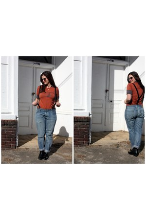 black Seychelles boots - blue Levis jeans - carrot orange appalachianorg t-shirt