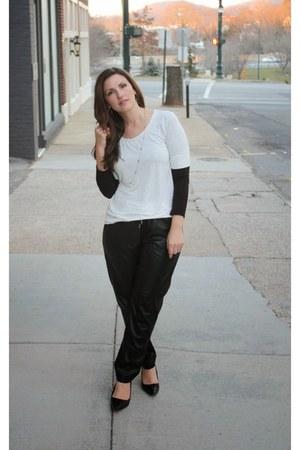 ivory H&M top - black H&M pants - black Mossimo heels