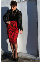 pencil skirt KTR Collection skirt - leather jacket romwe jacket