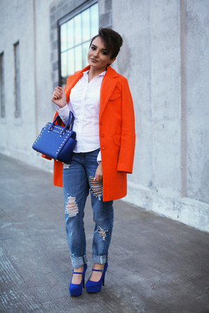 carrot orange orange romwe coat - boyfriend jeans Refuge jeans