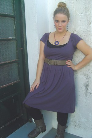 Local store dress - Local store boots - Calzedonia leggings - Local store belt