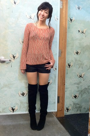 burnt orange Staring at Stars sweater - black thigh high Kimchi Blue boots