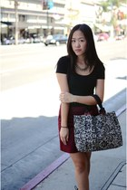 white tote SEW by Brian Truong bag - maroon couduroy H&M skirt