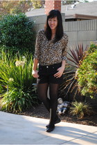 bronze leopard print H&M blouse - black sheer Urban Outfitters tights