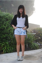 beige gumsole heel Cooperative wedges - cream crochet vintage shirt