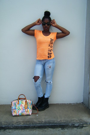 black doc martens boots - sky blue Levis jeans - Dooney & Bourke bag