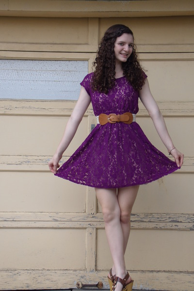 """Purple Lace Target Dresses, Brown Target Heels 