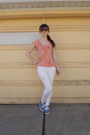 blue Target shoes - white Target jeans - coral kohls shirt