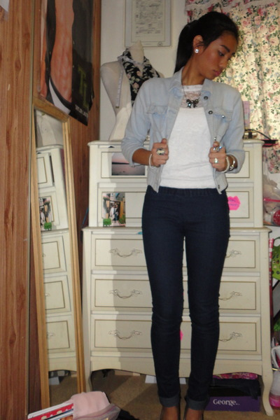 Blue Jean Jacket Forever 21 Navy Jeggings Forever 21 Jeans