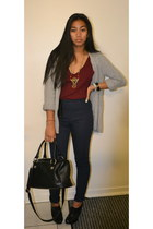 heather gray joe fresh style sweater - black H&M bag - navy H&M pants