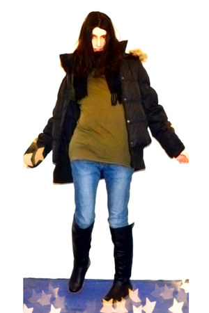 black Rs boots - blue H&M jeans - black Vero Moda jacket - black V&D scarf