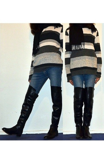 black overknee Jenny Fairy for CCC boots - blue H&M jeans