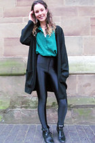 black vintage blazer - turn over Topshop boots - green vintage shirt