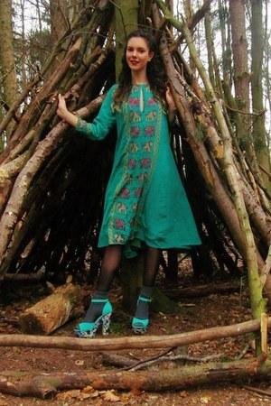 green Primark wedges - green elephant vintage dress
