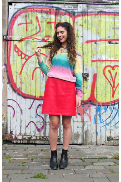 denim vintage coat - rainbow H&M sweatshirt - choker Sassy World necklace