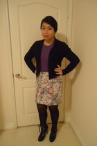 purple American Apparel shirt - navy moms vintage cardigan - light blue Urban Ou