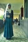 Teal-maxi-skirt-skirt-black-zara-top-floral-print-natasha-flats