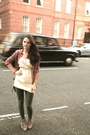 beige Topshop blouse - red Topshop vest - H&M leggings