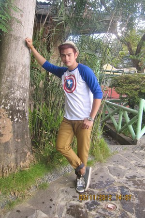 navy Captain America top - bronze BNY pants - light brown oxfords sneakers