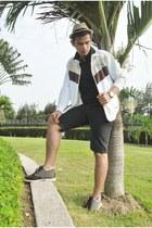 Fedora hat - amblvd jacket - Bench Shorts  shirt - Oxford sneakers