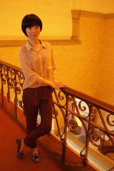 neutral chiffon American Apparel shirt - Topshop shoes